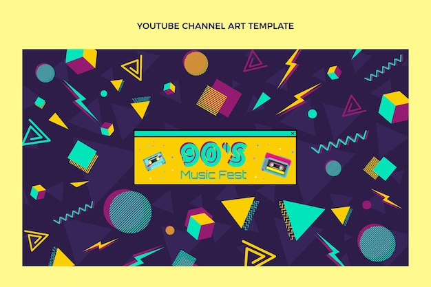 Nostalgisches musikfestival im flachen design auf youtube-kanal