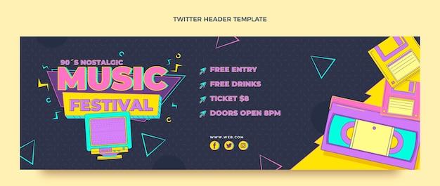 Nostalgisches musikfestival im flachen stil der 90er jahre twitter-header