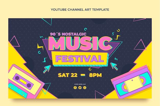 Nostalgisches musikfestival im flachen stil der 90er jahre youtube-kanal