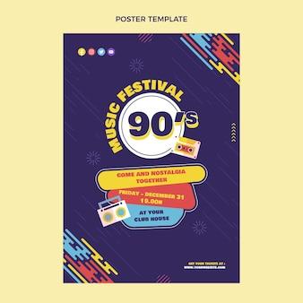 Nostalgisches musikfestivalplakat der 90er jahre im flachen design