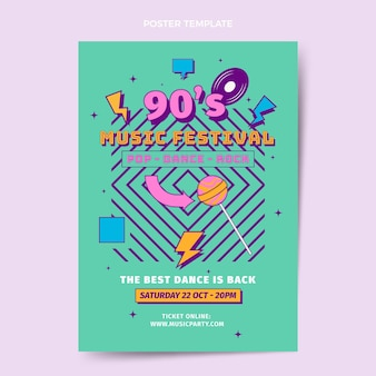 Nostalgisches musikfestivalplakat des flachen designs