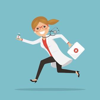Notärztin, die läuft, um mit medikamenten zu helfen. krankenhausszene. profi mit stethoskop und aktentasche
