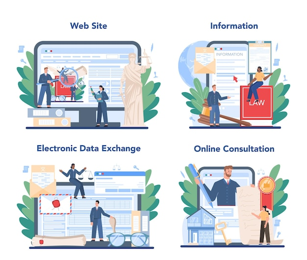 Notarservice online-service oder plattform-set. professioneller anwalt, der papierdokument unterzeichnet und legalisiert. online-beratung, elektronischer datenaustausch, information, website.