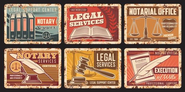 Notarservice, rostige metallplatten des notariellen bürovektors