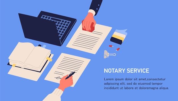Notarservice werbung. horizontales web-banner in blauer farbe mit händen, die juristische dokumente durch unterschrift und siegel oder stempel und platz für text bezeugen.