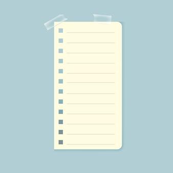 Notebook-blatt mit klebeband befestigt