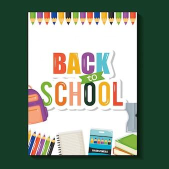 Notebook-blatt mit zurück in die schule