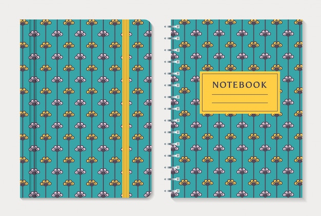 Notebook-cover-design. vektor festgelegt.