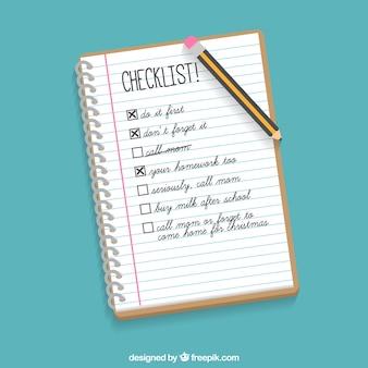 Notebook hintergrund mit checkliste und bleistift