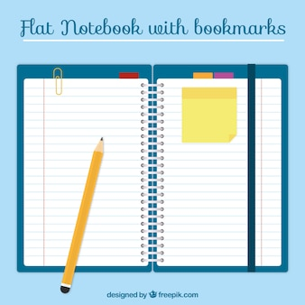Notebook mit lesezeichen im flachen design