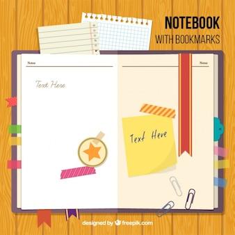 Notebook mit lesezeichen und zubehör