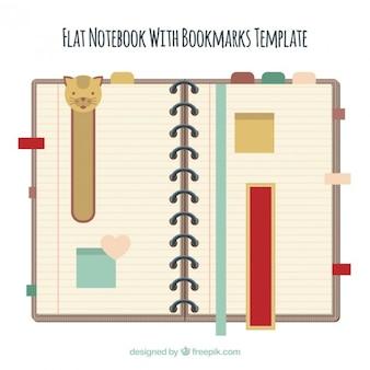 Notebook mit schönen lesezeichen