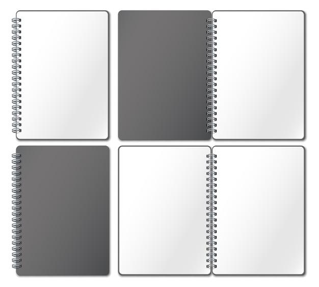 Notebook-modell. leeres heft, notizbuchseiten gebunden auf metallspirale und offen gebundenes skizzenbuch realistische 3d-illustration