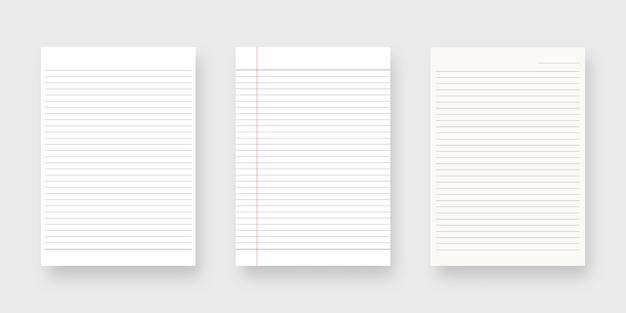 Notebook-papierset. blatt linierte papierschablone. isoliert. vorlagenentwurf. realistische illustration.