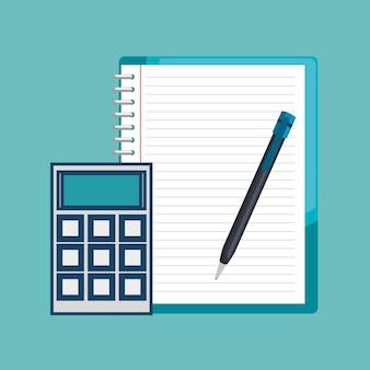 Notebook taschenrechner und stift