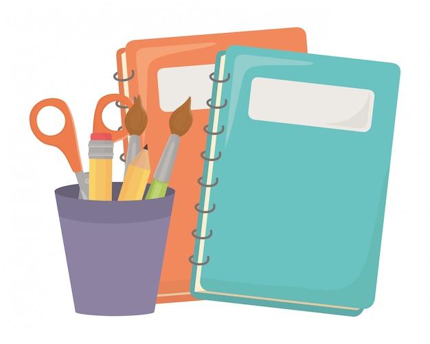 Notebook und schulmaterial