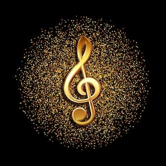 Notenschlüssel-musiksymbol auf einem glitzernden goldenen konfetti-hintergrund