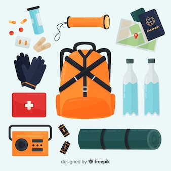 Notfall-überlebens-kit im flachen stil