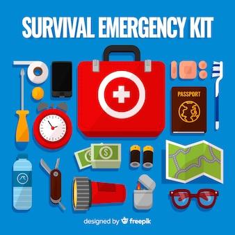 Notfall-überlebens-kit mit flachem design