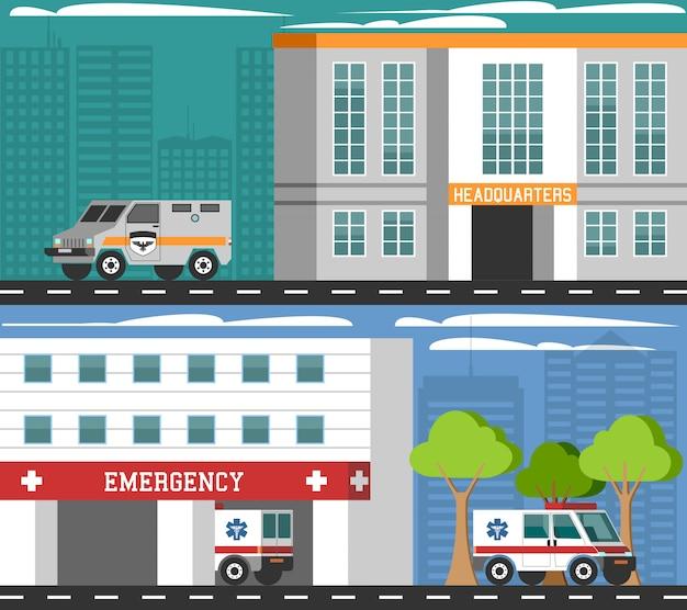 Notfallabteilungen fahrzeuge flat banners set