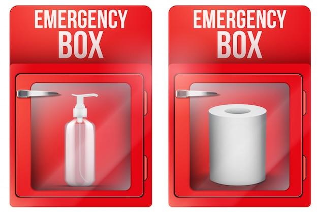 Notfallbox mit toilettenpapier und desinfektionsmittel