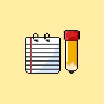 Notiz und bleistift im pixel-art-stil