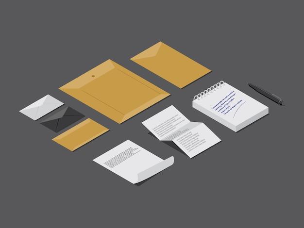Notizblatt und papierbrief auf grau