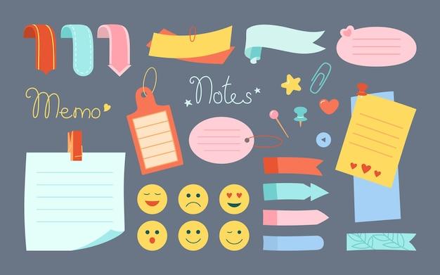 Notizblock-papier notiz kawaii set emoji-aufkleber