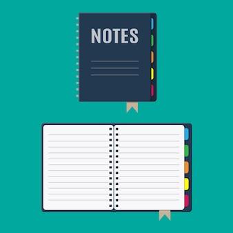 Notizblock und papierblätter mit lesezeichen