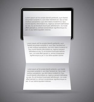 Notizblockdesign über grauer hintergrundvektorillustration
