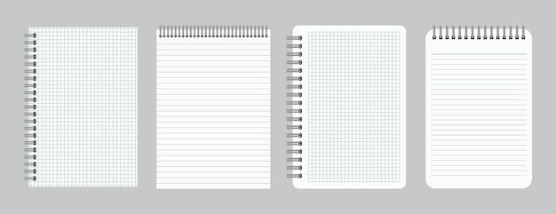 Notizblöcke mit leer liniertem und kariertem papier mit bindeeisenspirale. satz von vier notizbüchern. vektor-illustration