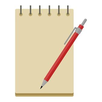 Notizbuch auf federn mit einem leeren weißen blatt und einem kugelschreiber oder bleistift clipart