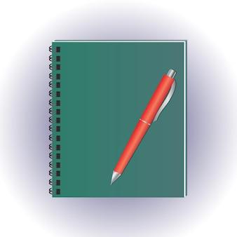 Notizbuch im grünen umschlag. stiftvektor. notizblock auf einer spirale. sammelalbum