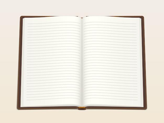 Notizbuch, in der mitte geöffnet. realistische vektorabbildung.