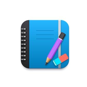 Notizbuch mit bleistift und radiergummi 3d-designelement für die mobile anwendung