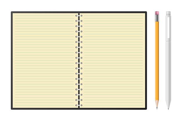 Notizbuch mit bleistift- und stiftillustration
