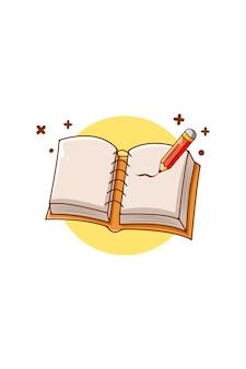 Notizbuch mit bleistiftikonenkarikaturillustration