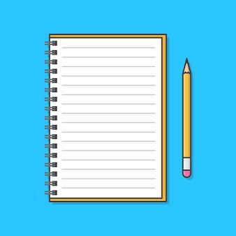 Notizbuch mit einer bleistiftillustration. Premium Vektoren