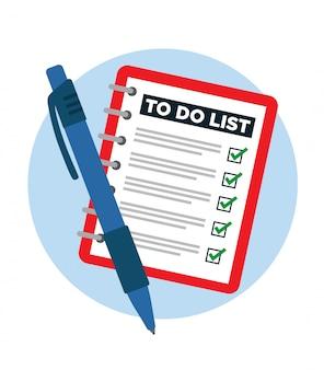 Notizbuch mit einer fertigen aufgabenliste und einem stift.