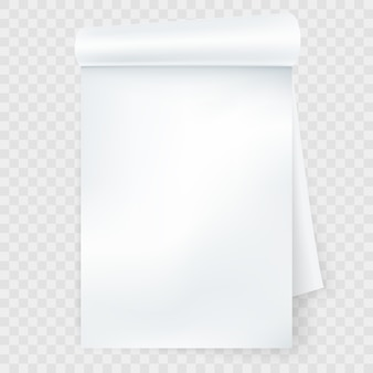 Notizbuch mit gerollter seite isoliert.