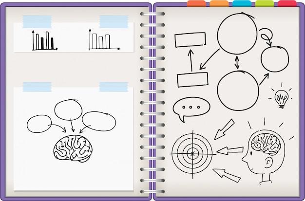 Notizbuch mit lernsymbol öffnen