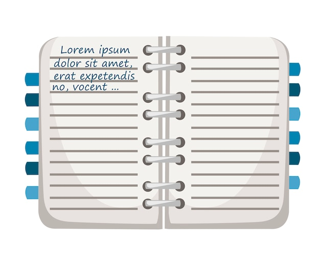 Notizbuch mit lesezeichen. notizblockmodell mit blauer textvorlage. flache illustration lokalisiert auf weißem hintergrund. buntes bürobedarfssymbol.