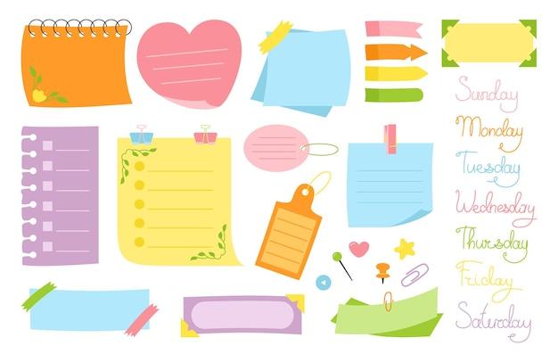 Notizbuch-papier-haftnotiz-flaches set leere aufkleber-notizen mit elementen der planung