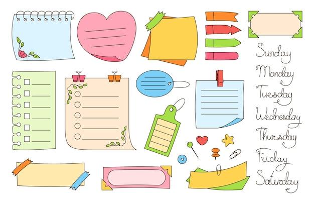Notizbuch papier haftnotiz set aufkleber elemente der planung und tage woche notizblock
