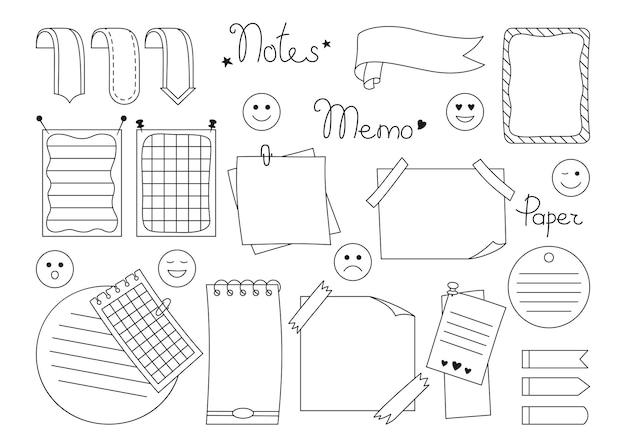 Notizbuch-papier-klebezettel-set planung von leeren aufkleberelementen