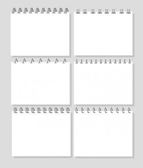Notizbuch, tagebuch. realistische metallspirale, buchblätter.