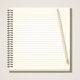 Notizbuch und bleistift aus papier
