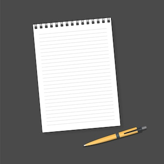 Notizbuch und stift. leeres realistisches mockup-notizblock-notizbuch und stift