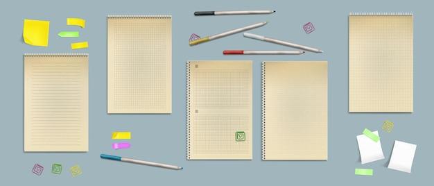 Notizbuchblätter aus kraftpapier, leere seiten mit linien, punkten oder schecks mit haftnotizen,