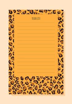 Notizbuchliste im trendigen stil mit leopardenhintergrund
